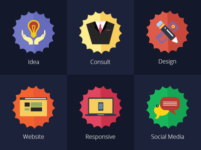 Freebie PSD : Flat Serivces Icons freebie design web illustration color icon material ux ui