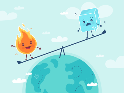 Global Warning cute web web design melting fire ice graphicdesign illustration cooling global warming simple