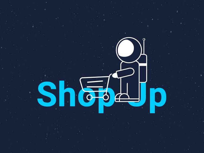 Shop Up Logo blue company shop spaceman astronaut space logo graphic design brand