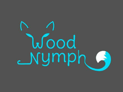WoodNymph Logo Design typography line simple blue graphic design fox logo brand