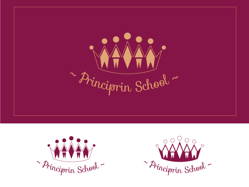Principrin School round design contest play burgundy crown simple line children school logo royal