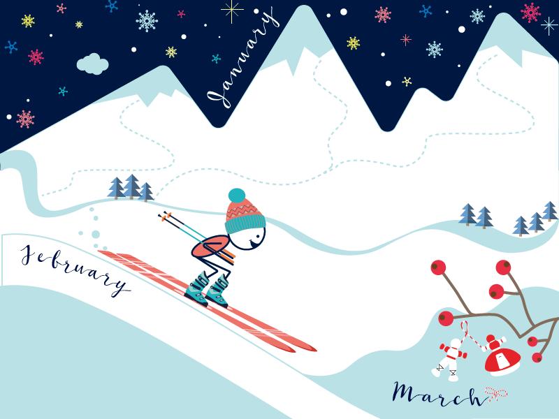 Printable Calendar Story printable calendar seasons winter skiing illustration planner monthly
