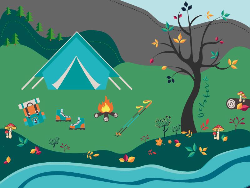 Printable Calendar Story forest camping storytell planner stick man tent autumn illustration design print calendar