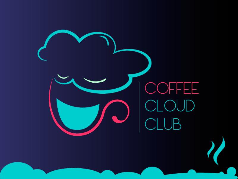 Cloud Cafe Club cloud blue cup club illustration coffee brand logo