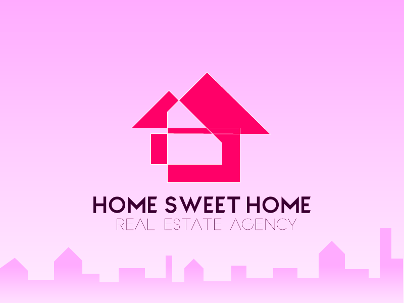 Home Sweet Home pink real estate brand logo