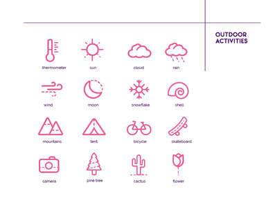 100 icons challenge illustration hiking weather pinky outdoors graphic design graphic designer icons