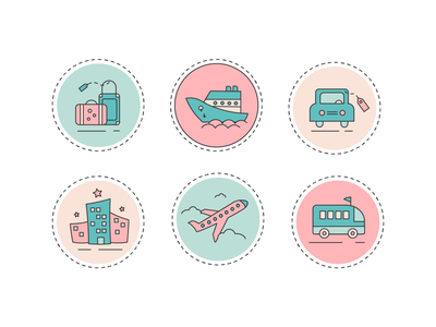 Travel More round cruise car excursions flight plane luggage hostel web app sticker icon travelling travel illustrator graphic design illustration