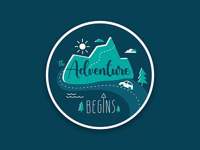 Adventure Begins wild nature road trip flat design blue inspiring pin hike mountains travel adventure graphic design sticker