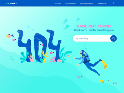 404 Page not found opportunity inspiration simple flat design ui design adventure scuba diving page not found graphic designer under the sea 404 page illustration