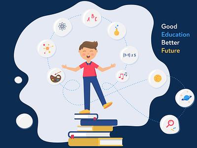 Good Education/ Better Future future storytell graphic design vector design juggle school learn student webdesign education art illustration illustrator