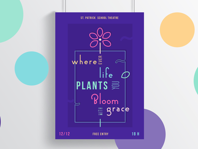 Typography poster flower web design print quote inspiration simple round letters mock-up graphic design neon bright colour style typography poster
