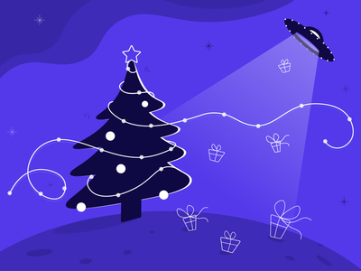Presents from another dimension aliens tree space lines monochrome purple ui design presents alternative design christmas illustration