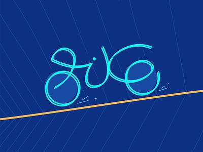 Bike paint blue movement web design lines simple typography explore brand bike design art illustration