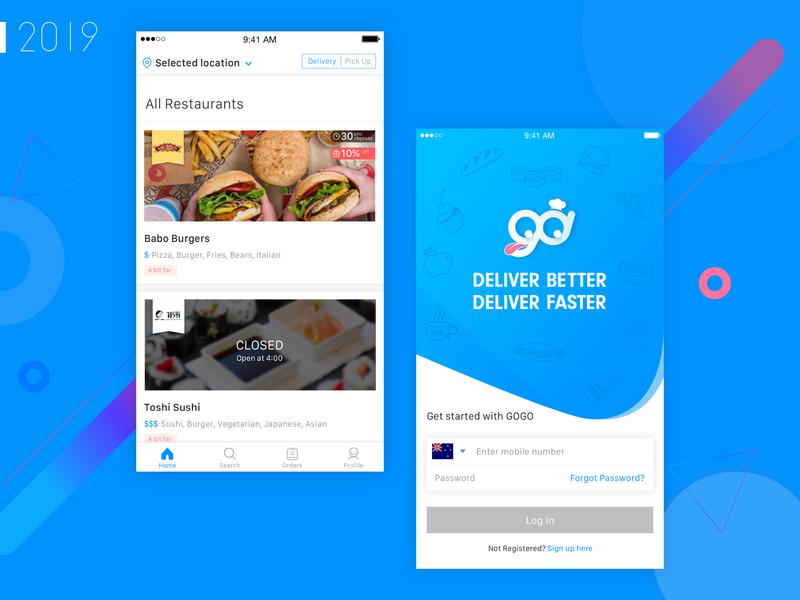 GOGO Delivery Food App Design ui app icon design