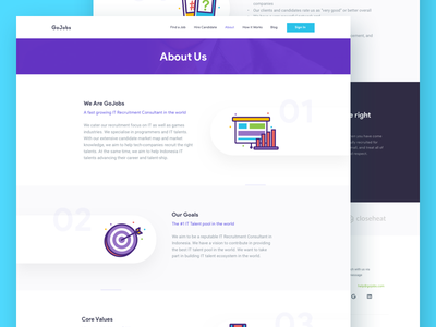 IT Recruitment Website - About Us walktrough timeline landing page line icon vector icon developer web developer designer employee recruitment it