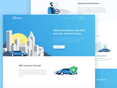 Sharing Car to Uber and Lyft Driver taxi transportation vehicle lyft product corporate sharing car uber insurance illustration landing page