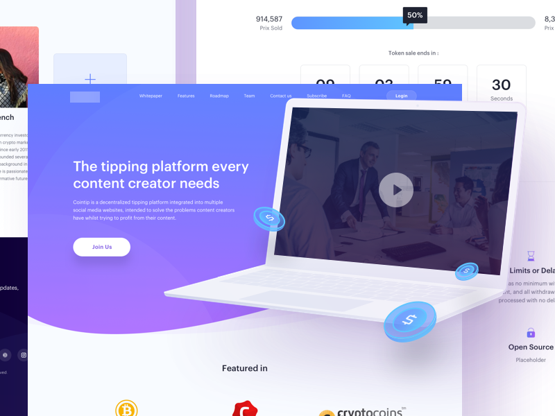 Cryptocurrency Landing Page web design fintech finance crypto mockup landing page expert bitcoin cryptocurrency