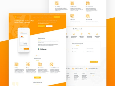 Zenfox Landing Page landing page webdesign web testimonials team services icons home flat cta contact agency