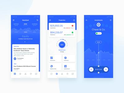 Robo Advisor - Newsfeed, Projection & Investment robo advisor ui mobile ios flat app statistics financial finance email dashboard