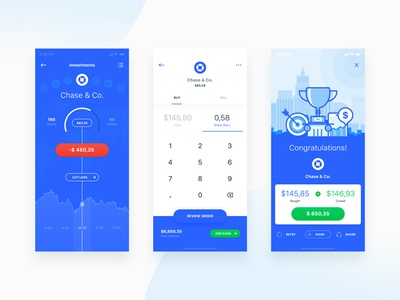 Projection & Closing Flow dashboard email finance financial statistics app flat ios mobile ui robo advisor