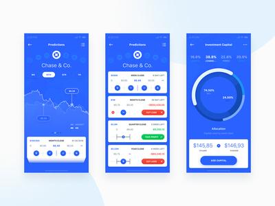 Predictions & Capital Risk robo advisor ui mobile ios flat app statistics financial finance email dashboard