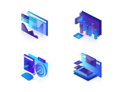 Feature Icon intelli artificial graph widget click rate bounce engage isometric icon