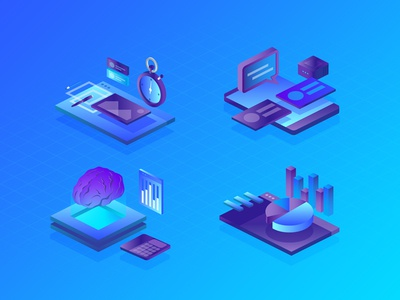 Service & Offer Icon intelli artificial graph widget click rate bounce engage isometric icon