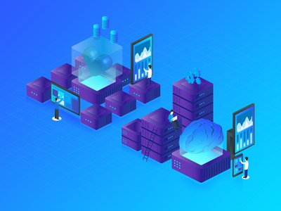 The Heart & The Mind illustration icon isometric engage bounce rate click widget graph artificial intelli