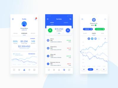 Profile & Portfolio dashboard email finance financial statistics app flat ios mobile ui robo advisor