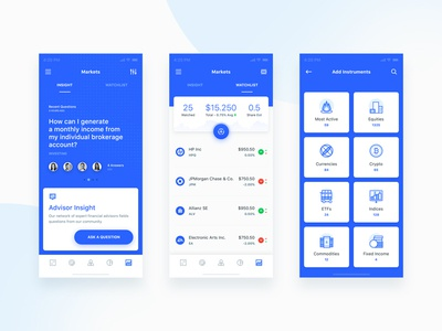 Market Insight, Watchlist & Instruments dashboard email finance financial statistics app flat ios mobile ui robo advisor