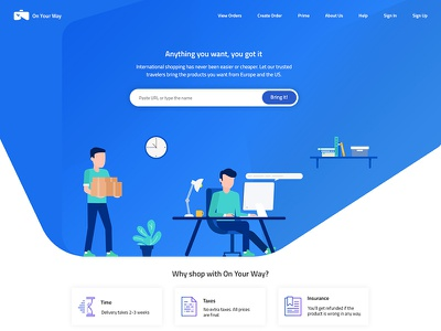 Delivery webstie product delivery illustrator ui ux design website