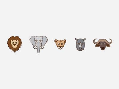 Big Five kids buffalo rhinoceros rhino leopard elephant lion big five animals