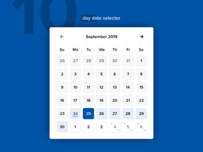 10 Day Date Selector calendar datepicker ui