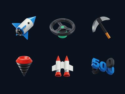3d Icons ◆ 01 boer redshift after effect c4d cinema 4d rudder kaylo jetpack rocket icons design icons 3d icons 3d