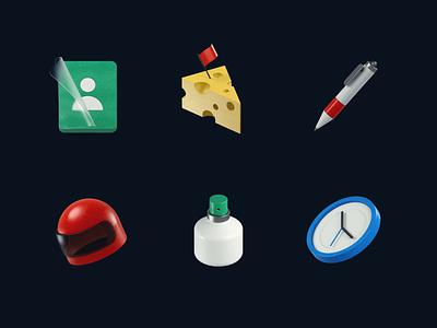 3d Icons ◆ 02 clock bottle helmet pen cheese profile icon design after effect c4d 3d 3d icons