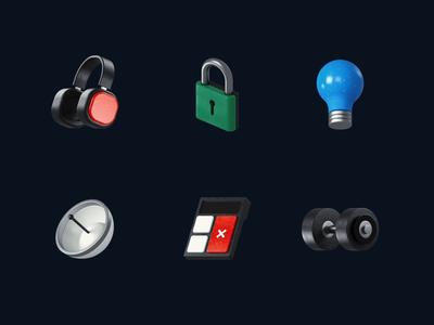 3d Icons ◆ 03 dumbbell calculator radar lamp lock headphones 3d illustration design icon render cinema 4d c4d 3d 3d icons