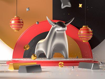 Lunar v.2 3d illustration china lunar bull illustration render after effects cinema 4d 3d design c4d