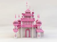 C4D castle modeling