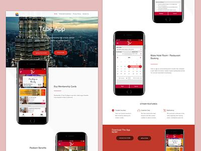 Tribe app landing page booking hotel red app landingpage website tribe