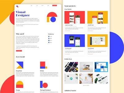 Personal website design visual design colours minimalism modern geometry personal brand branding website