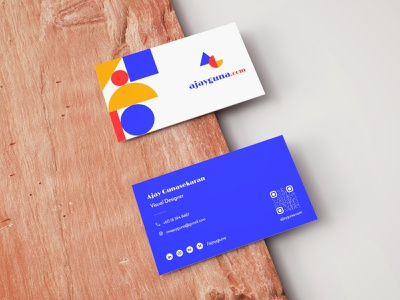 Business card design blue colours shapes geometic geometry logo visual design businesscard