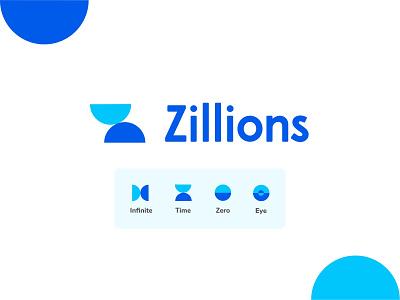 Zillions logo design icon typography design logo visual design circle shapes branding logodesign blue geometic