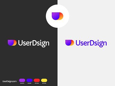 UserDsign Logo gradient yellow red simple logo blue purple minimal minimalistic geometic logo
