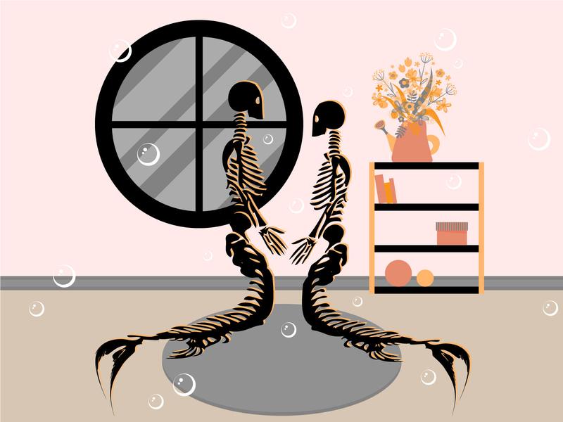 S C E L E T O N relationship love couple design character people girl mermay2020 mermay mermaid sceleton