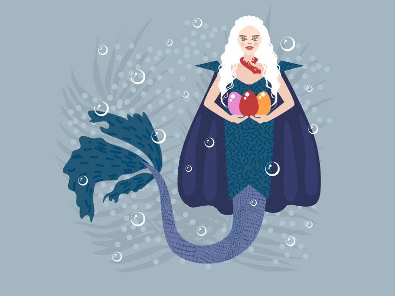 Mermay 15: Dragon (Daenerys inspiration) character design digital ocean girl people clean character vector artwork graphics vector illustrator illustration flat design mermaids mermaid mermay daenerys daenerys targaryen game of thrones