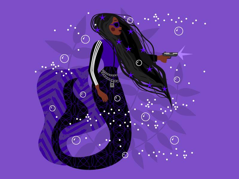 Mermay 20: Gangsta black woman dark black girl gun gangsta mermaids ocean character design mermay mermaid vector artwork graphics people girl character vector illustrator illustration flat design
