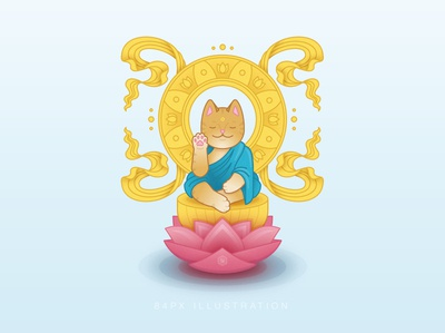 Buddha Cat meditation lotus buddha cat cat content vector illustration