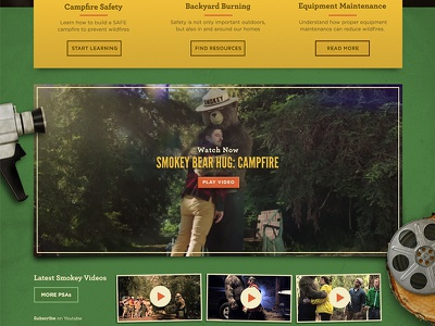 SmokeyBear.com - Rejected dimensional website web design government smokey forestry nature