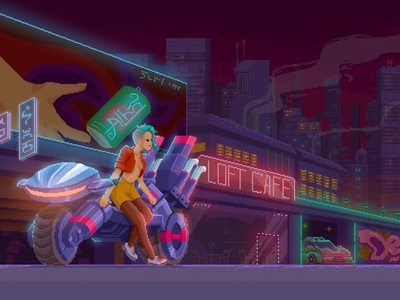 cyberpunk biker girl gameart neon illustrator megapolis sci-fi scifi illustration artwork pixel art videogame indie game retro retrogames pixel cyberpunk pixelart