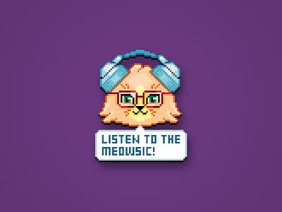 Listen to the Meowsic! meow headphones funny geek kitten kitty cat cute print sticker design glasses musician meloman music retro pixel pixelart sticker flat illustration